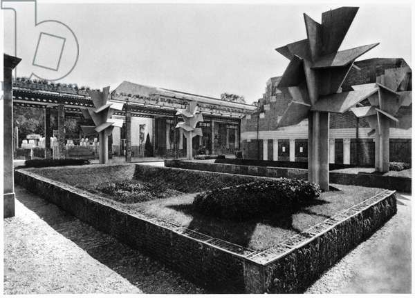 The winter garden and the cubist concrete trees at the Art Deco Exhibition, from 'Exposition des Arts Decoratifs, Batiments et Jardins' by M. Roux-Spitz, Paris, 1925 (concrete) (b/w photo)