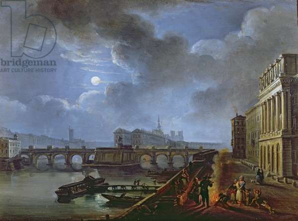 View of the Seine from the Left Bank, end eighteenth century (oil on canvas)