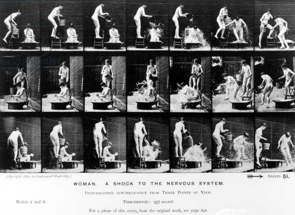 Woman. A Shock to the Nervous System, 1887, illustration from 'The Human Figure in Motion' by Eadweard Muybridge, 1904 edition (b/w photo)