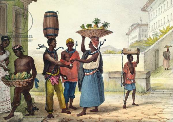 Iron collar punishment for fugitive slaves, from 'Voyage Pittoresque au Bresil', 1839 (colour engraving)