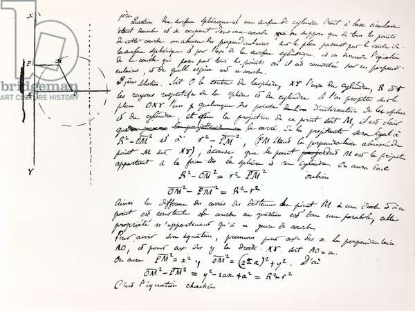 Beginning of Galois's examination script for the Concours General, 1829 (pen & ink on paper) (b/w photo)