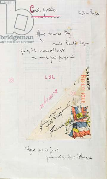 'Carte-Postale', poem dedicated to Jean Royere from the 'Case d'Armons' collection, 1915 (pen & ink  and collage on paper)
