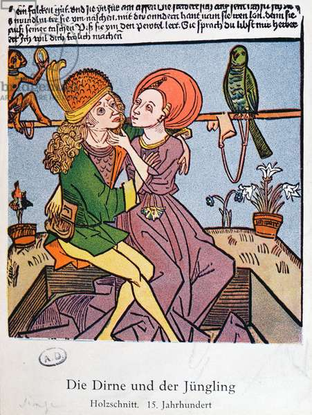 The Youth and the Prostitute, copy of a 15th century coloured woodblock (colour litho)