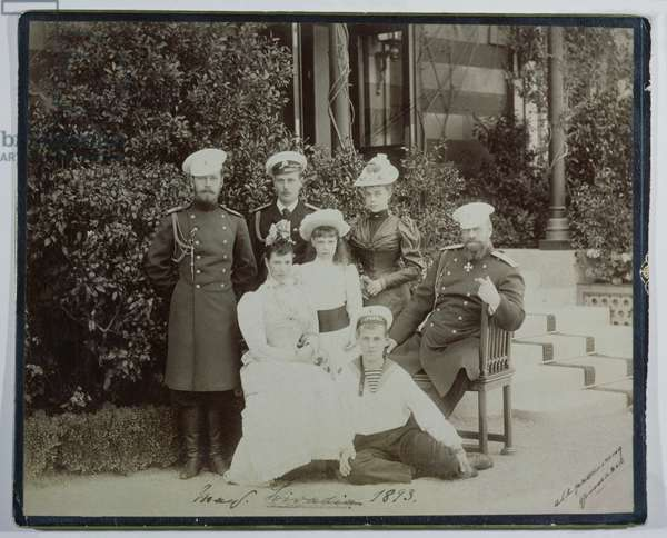 Tsar Alexander III (1845-94) surrounded by his family at Livadia, 1893 (b/w photo)