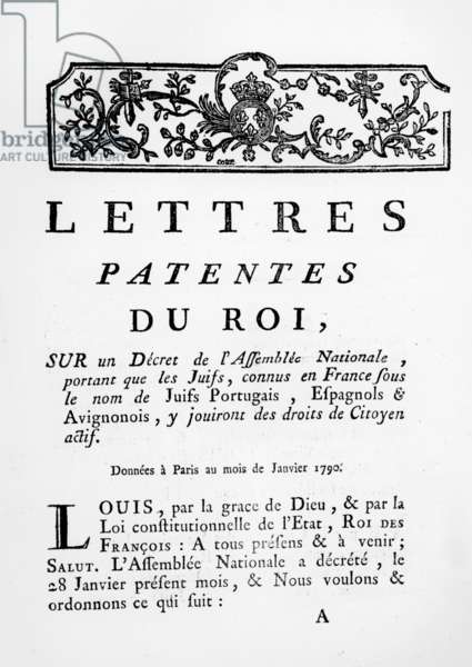 Royal Letters Patent granting equal rights for Portuguese, Spanish and Avignonese Jews in France, Paris,  January 28, 1790 (engraving)  (see also 695057)
