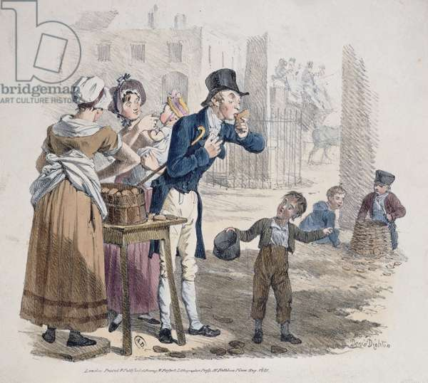 The Baked Potato Seller, 1821 (colour litho)