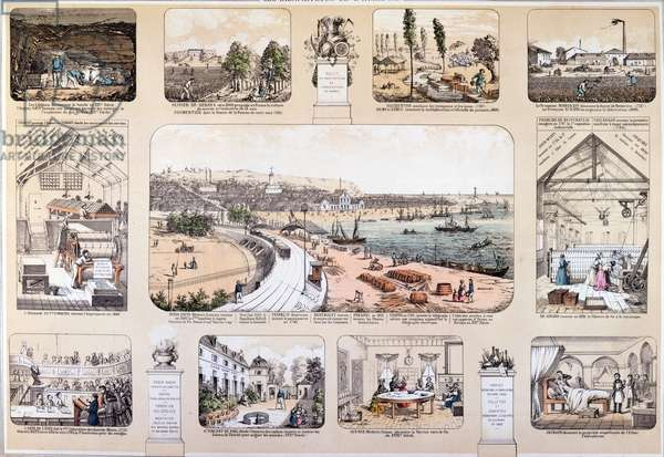 The Benefactors of Mankind, plate depicting Great Inventions, 2nd half of 19th century (colour engraving)