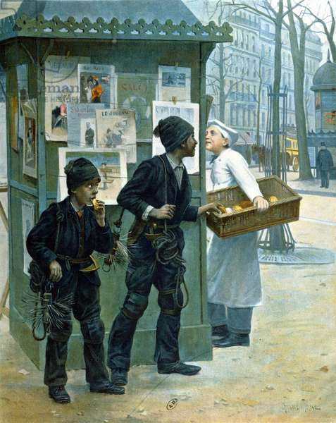 Chimney Sweeps Stealing Bread, 1897 (colour litho)