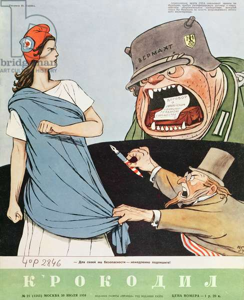 Caricature on the London and Paris agreements allowing the rearmament of Germany, front cover illustration of 'Krokodil', published Moscow, 30th July 1954 (colour litho)