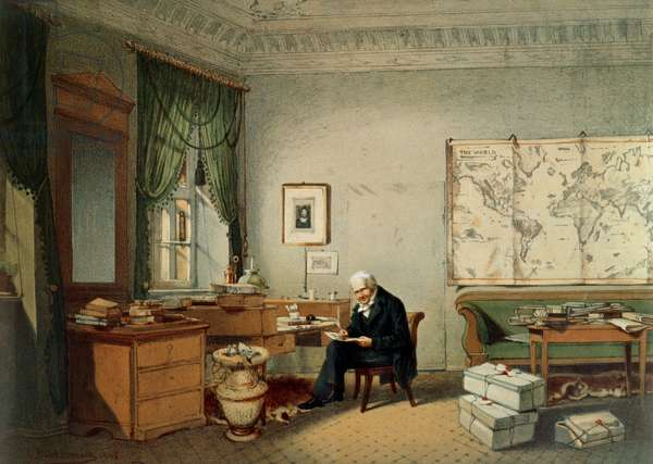 Baron Alexander von Humboldt (1769-1859) in his Study (colour litho)