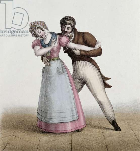 'La Bonne et le Patron Galant', c.1830 (colour litho)