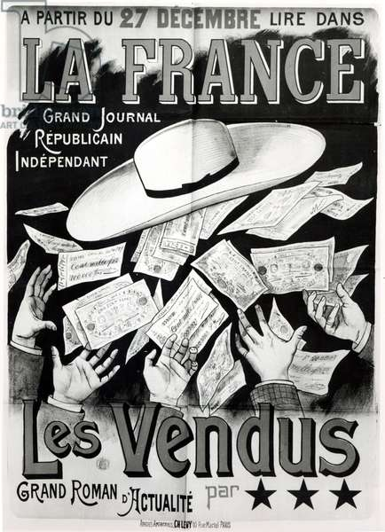 Poster advertising the novel 'Les Vendus' dealing with the Panama Affair, c. 1892-95 (litho) (b/w photo)