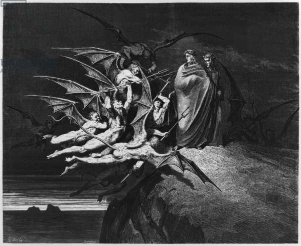Illustration from 'The Divine Comedy' (Inferno) by Dante Alighieri (1265-1321) Paris, published 1885 (engraving) (b/w photo)