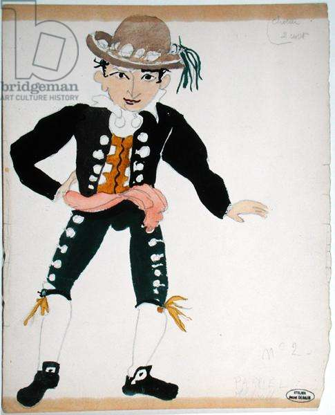 Costume design for a performance of 'The Barber of Seville' in Paris (w/c on paper)