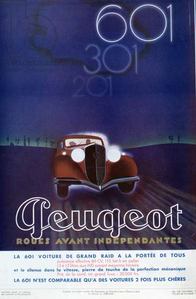 Advertisement for the Peugeot 601, from 'Femina' magazine, August 1934 (colour litho)