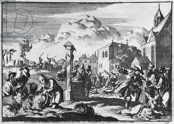 The Cruelty of President Marsaut at Niort against the Protestants, 1684 (engraving) (b/w photo)
