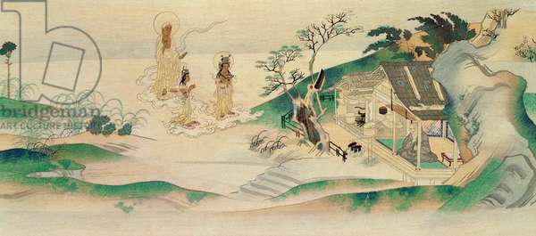 Amitayus Buddha and two Bodhisattvas visiting the monk Honen (b.1132), illustration published in the magazine 'Tokka' in March 1902 (colour litho)