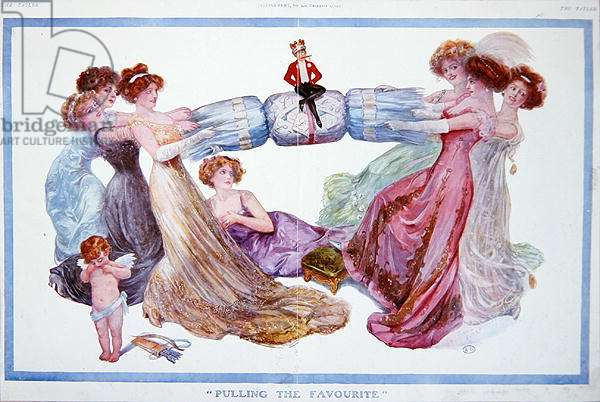 'Pulling the Favourite', cartoon from 'Tatler' magazine, 1st December 1909 (colour litho)