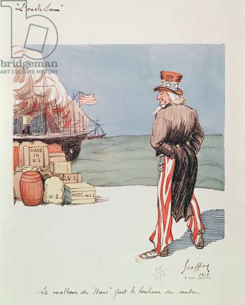 Caricature of 'Uncle Sam' at the time of the 1st World War, 1915 (coloured litho)