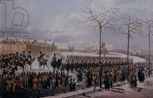 The Insurrection of the Decembrists at Senate Square, St. Petersburg on 14th December, 1825 (w/c on paper)