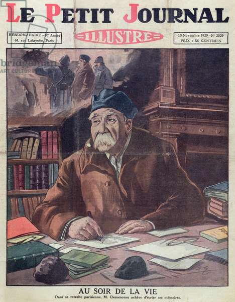 Georges Clemenceau (1841-1929) in old age, cover of 'Le Petit Journal' 10th November 1929 (colour litho)