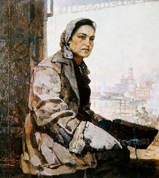 E.K. Mikheeva, Stakhanovite, from 'Soviet Woman' magazine, 1949 (colour litho)