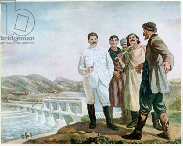 Stalin at the hydro-electric complex at Ryon in the Caucasus Mountains, 1935, reproduction of the original in 'Soviet Painting', 1939 (colour litho)
