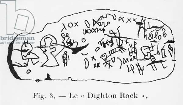 Inscription of Dighton Rock, illustration from 'Manuel d'Archeologie Americaine' by H. Beuchat, Paris, 1912 (pen & ink on paper) (b/w photo)