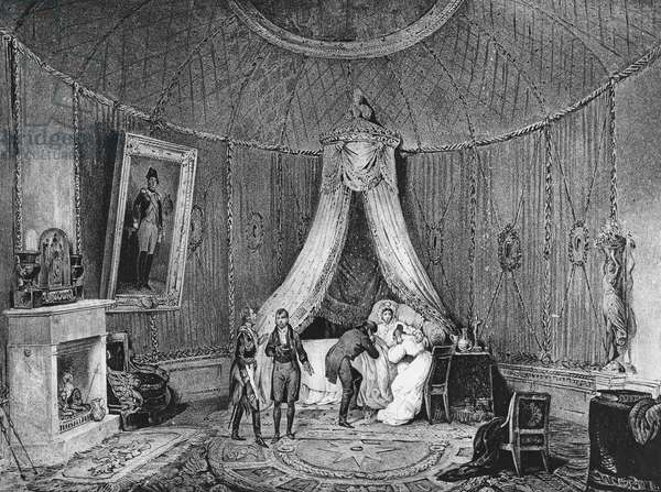 Death of Joséphine de Beauharnais on 29th May 1814, 1829 (litho)