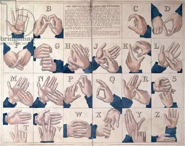 'The Art of Talking with the Fingers', sign language alphabet (coloured engraving)