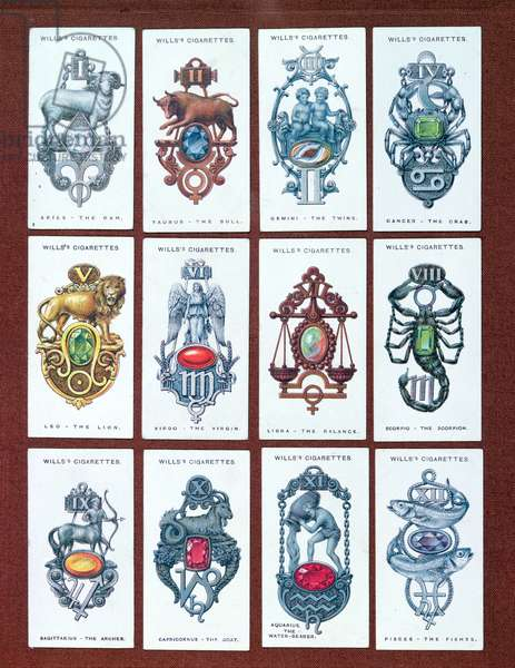 Set of Wills's cigarette cards depicting the twelve signs of the zodiac with their associated birth stones, c.1920-40 (colour litho)