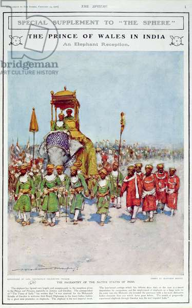 An Elephant Reception for the Prince of Wales, illustration from 'The Sphere', 1906 (colour litho)
