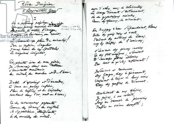 'Reve Parisien' autograph poem (pen & ink on paper) (b/w photo)