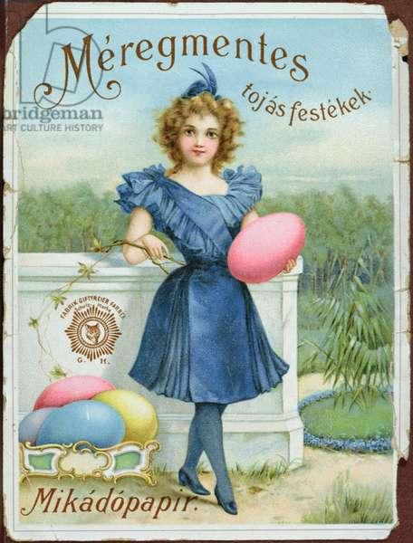 Advertisement for a non-toxic dye for Easter eggs, c.1900 (colour litho)