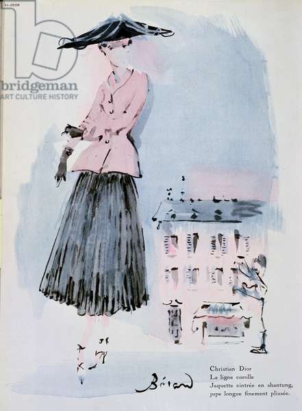 Fashion plate by Christian Dior, illustration from the magazine 'Vogue', June 1947 (colour engraving)