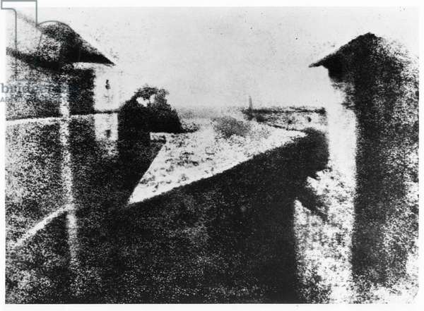 View from a window at Le Gras, Saint-Loup-de-Varennes, 1827 (b/w photo)