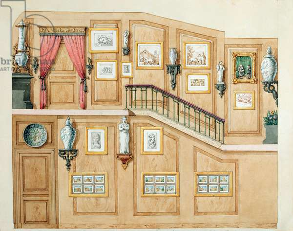 Staircase at rue Fortunee, house bought by Balzac in 1847, 1851 (w/c on paper)