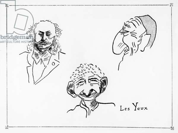 The Eyes, illustration from an antisemitic pamphlet 'The 19 Defects to recognize a Jew' by Docteur Celticus, 1903 (pen and ink on paper) (b/w photo)