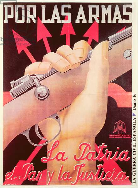 'Por las Armas, la Patria el Pan y la Justicia' (Take up Arms for Country, Food, and Justice), Poster about Spanish Civil War, 1938 (colour lithograph)