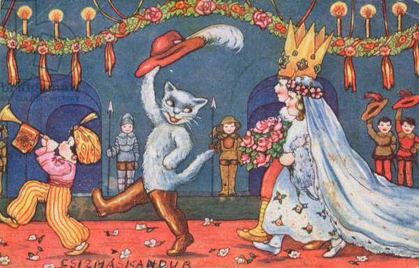 The Marriage of the Marquis of Carabas and the Princess, illustration from 'Puss in Boots', c.1949 (colour litho)