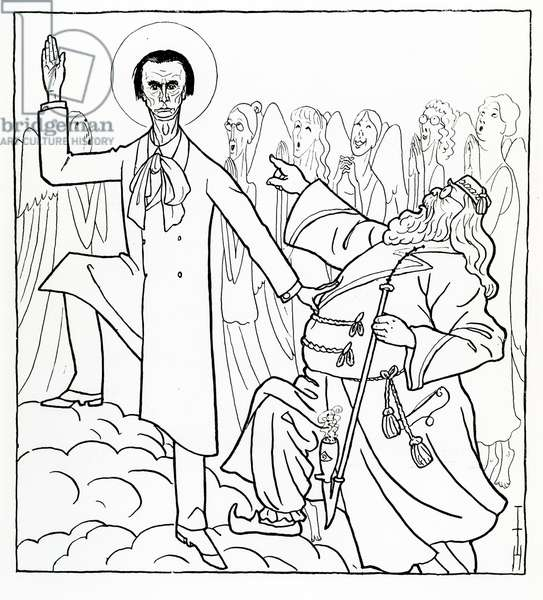 Caricature of Rudolf Steiner, illustration from 'Simplicissimus', published April 20 1925 (litho)