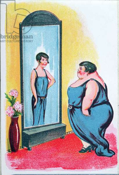 Postcard depicting an obese woman viewing herself as thin in a mirror, c.1930-40 (colour litho)
