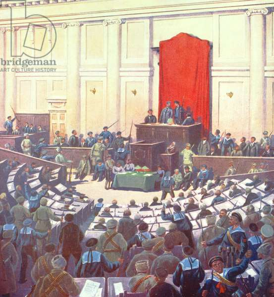 The only session of the All-Russian Constituent Assembly held in Petrograd on 18th January 1918 (colour litho)