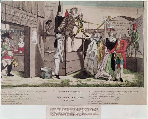 Satirical cartoon on the French emigres in Coblentz and the Declaration of Pillnitz, 1791 (colour litho)