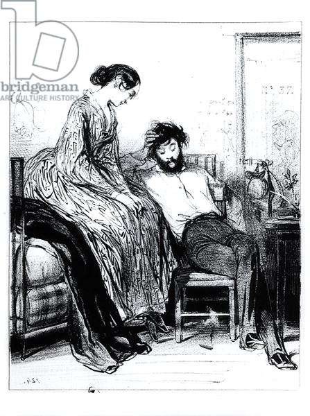 In Prison for Debt at Clichy, c.1830-40 (litho) (b/w photo)