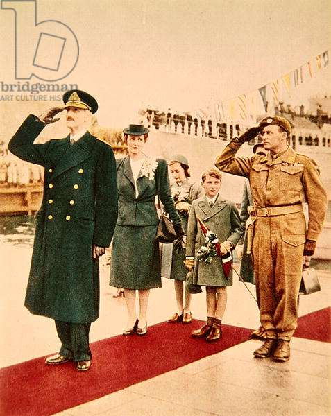 The return of King Haakon VII of Norway on 7th June 1945 (coloured photo)