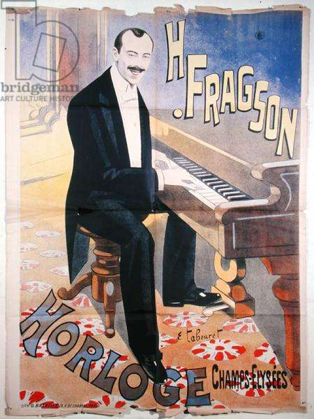 Poster advertising Harry Fragson (1869-1913) in concert at l'Horloge, Champs-Elysees, Paris, c. 1900 (colour litho)