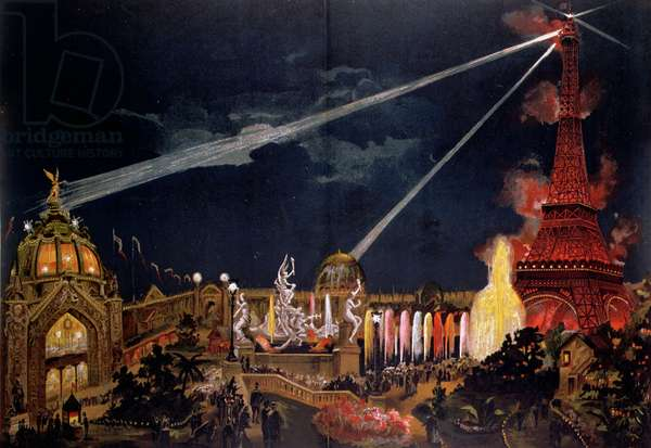 Souvenir of Illuminations in Paris to commemorate the 1st Centenary of the French Revolution during the 1889 Exposition Universelle (colour litho)