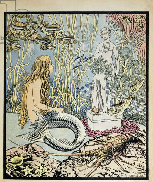 The Little Mermaid before a statue in the sea, illustration for a fairy tale by Hans Christian Andersen (1805-75), from 'Album du Pere Castor' published by Flammarion, 1937 (colour engraving)