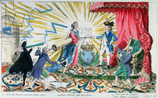 Allegory of the Acceptance of the Constitution by King Louis XVI (1754-93), 1791 (colour litho)